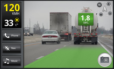 ionroad Android App estimates time to vehicles ahead