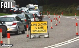 Lane Closed To Ease Congestion (Fail Blog)