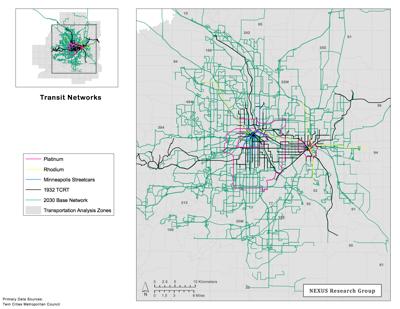 Accessibility Futures Transit Network Scenario Maps