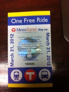 One Free Ride ticket on Metro Transit