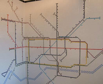 Bathroom tile tube map