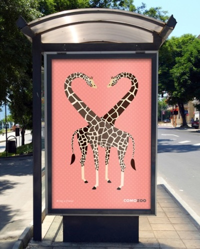 Como Zoo Poster at bus stop