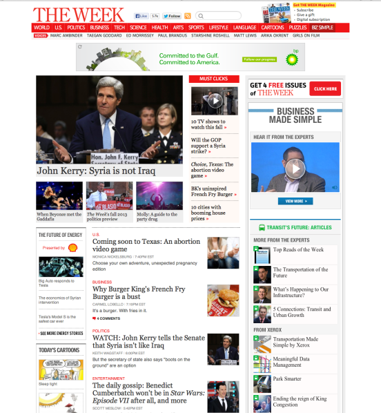 On the front page of The Week, twice.