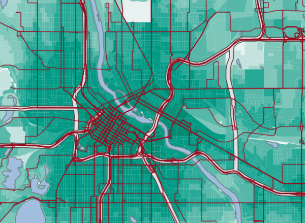 Transit Accessibility for the Minneapolis St. Paul region from the Accessibility Observatory