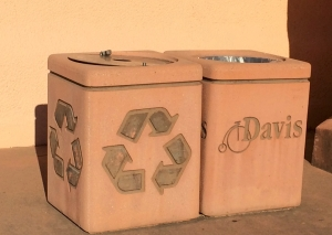 Waste disposal in Davis, California. Mission-style materials with clear iconic branding