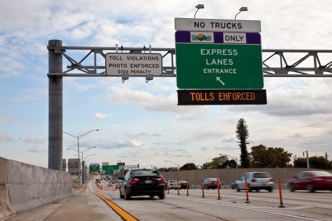 Express Lane Tolls Enforced. Credit Jeffery Katz / Florida Department of Transportation