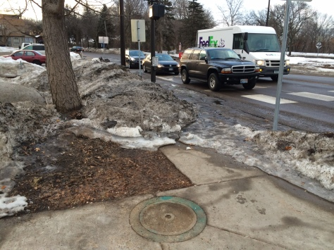 "Snow ""removal"" at Franklin Avenue/East River Road/27th Avenue blocks the sidewalk"