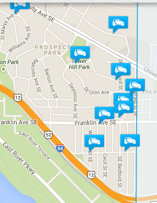 Car 2 Go map, showing preponderance of cars near the city line.