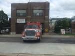 Firetruck on University Avenue blocked by LRT train