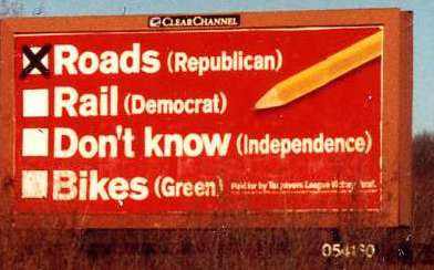 Roads (Republican) Rail (Democrat)  Don't Know (Independence),  Bikes (Green)