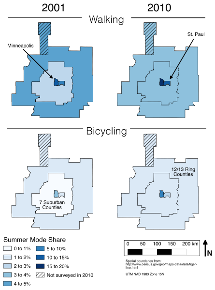 Walking and Biking Mode Shares in summer 2001 vs. 2010