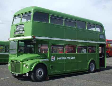 Green Routemaster Bus serving suburban and exurban London