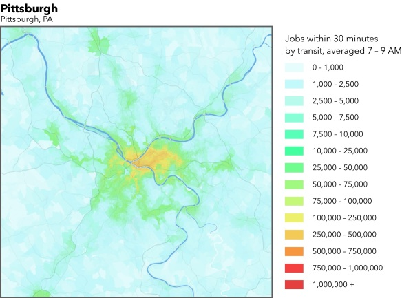Jobs accessible within 30 minutes by transit (2014) - Source: Accessibility Observatory