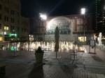 Well-lit plaza in Fort Worth