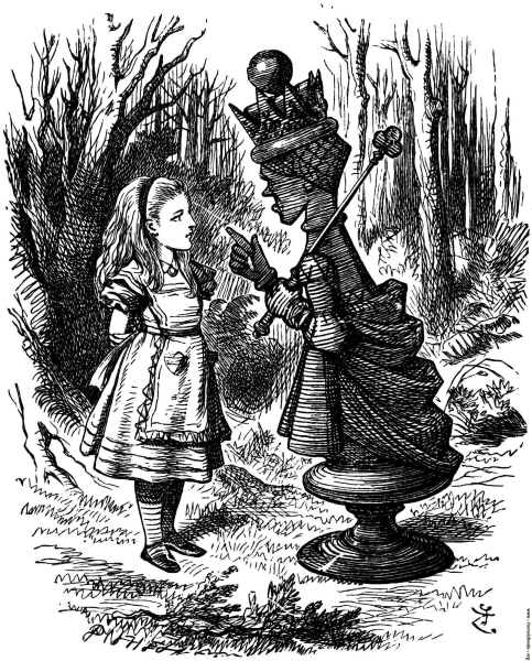 """I'm sure I'll take you with pleasure!"" the Queen said. ""Two pence a week, and jam every other day."" Alice couldn't help laughing, as she said, ""I don't want you to hire me – and I don't care for jam."" ""It's very good jam,"" said the Queen. ""Well, I don't want any to-day, at any rate."" ""You couldn't have it if you did want it,"" the Queen said. ""The rule is, jam to-morrow and jam yesterday – but never jam to-day."" ""It must come sometimes to 'jam to-day',"" Alice objected. ""No, it can't,"" said the Queen. ""It's jam every other day: to-day isn't any other day, you know."" ""I don't understand you,"" said Alice. ""It's dreadfully confusing!"" Lewis Carroll's (1871)  Through the Looking Glass and What Alice Found There"