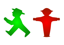 The East German Amplemannchen https://en.wikipedia.org/wiki/Ampelmännchen