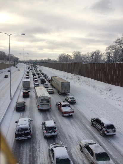 Congestion, due in part to weather, on I-94.
