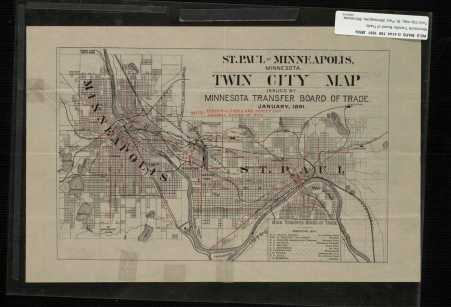 St. Paul - Minneapolis Minnesota Twin City Map. By 1891, Minneapolis and St. Paul had grown together into a single unit, the opposite of Mitosis.