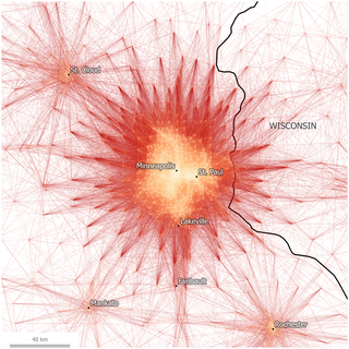 Fig 4. Tract-to-Tract Commutes of 80km/50 miles or less in Minneapolis-St. Paul. http://dx.doi.org/10.1371/journal.pone.0166083.g004