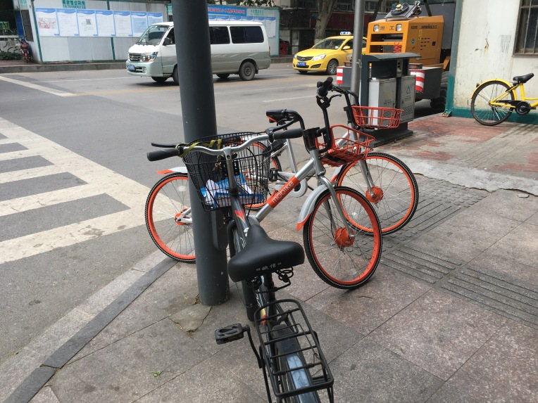Stationless bikesharing. Just park your bike anywhere, and someone will come and get it and ride to the next place. No matter if it blocks pedestrians, and there are no wheelchairs and few blind people to be seen anyway.