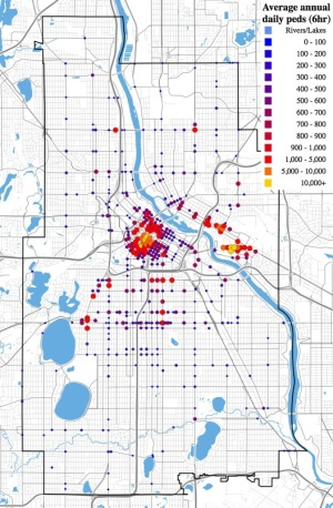 Average annual 6-hour pedestrian count by location, Minneapolis