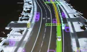 A visualisation of data captured by an autonomous vehicle. Photograph: Elijah Nouvelage/Reuters