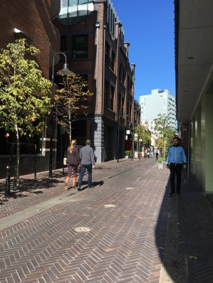 A pedestrianized street in Chippendale. Kensington Street.