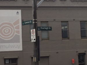 Lawson St. and Everleigh St. The navigation sign is correct, and there is nominally a shared zone. Spot the mistake.