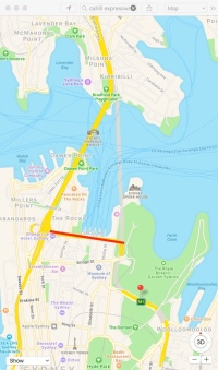 Map of Cahill Expressway, Red line indicates section under discussion in this post.