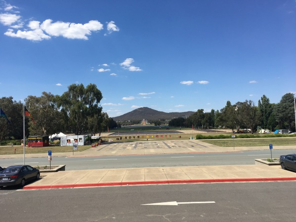 A view of the War Memorial at the foot of Mount Ainslie from Old Parliament House