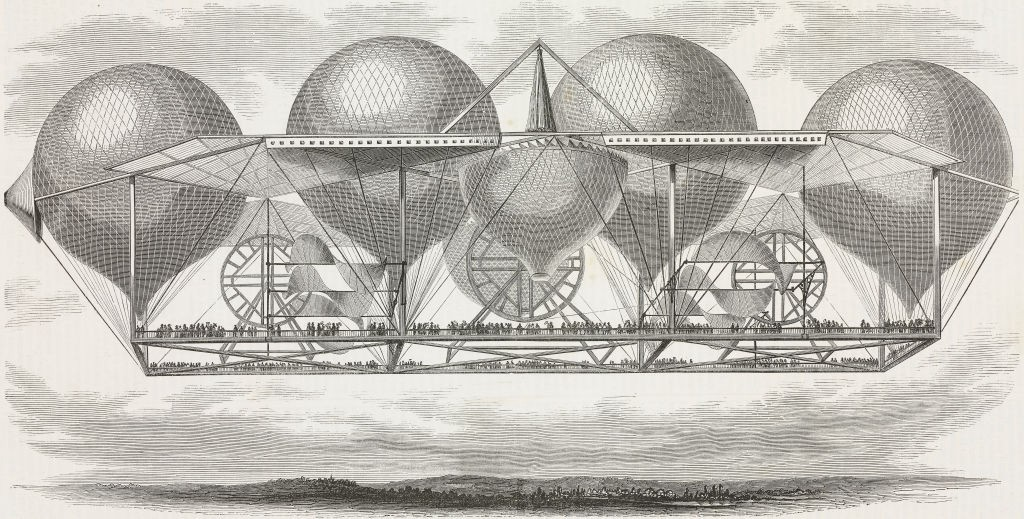 Historical depictions of the future of transportation (above, Petin's hot-air balloon system from the journal L'Illustration in 1850) always seem to rely on blimps for some reason. (De Agostini Picture Library)