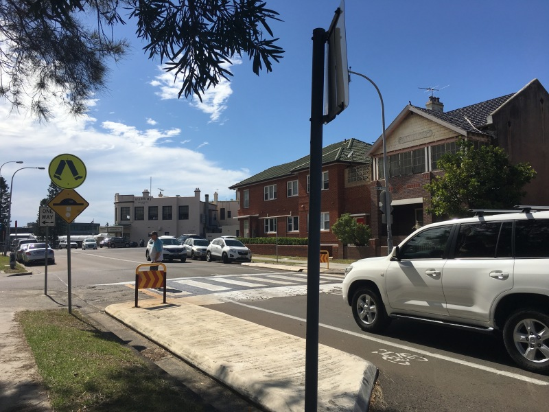 Raised pedestrian crosswalk in Cronulla