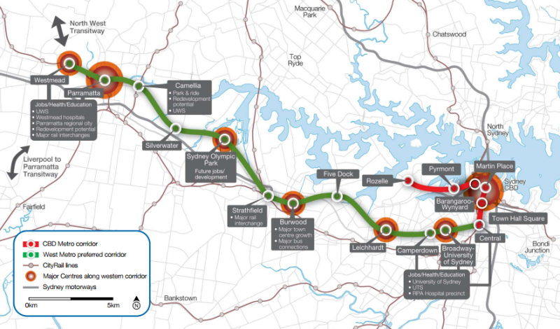 "Planned route of the 2008 West Metro, which may be indicative of the future Sydney Metro West. Click to enlarge. (Source: Railway Gazette https://wordpress.com/post/transportsydney.wordpress.com/""//www.railwaygazette.com/news/single-view/view/sydney-west-metro-route-announced.html"""") Via: https://transportsydney.wordpress.com"