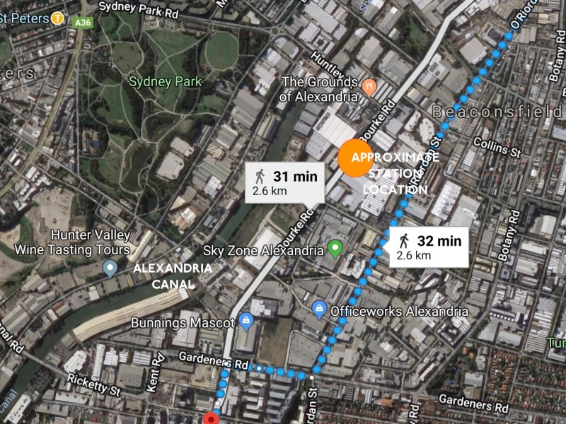 Walking Route from Green Square to Mascot. Approximate half way point in orange oval. Alexandria Creek to the southwest. Map by Google.