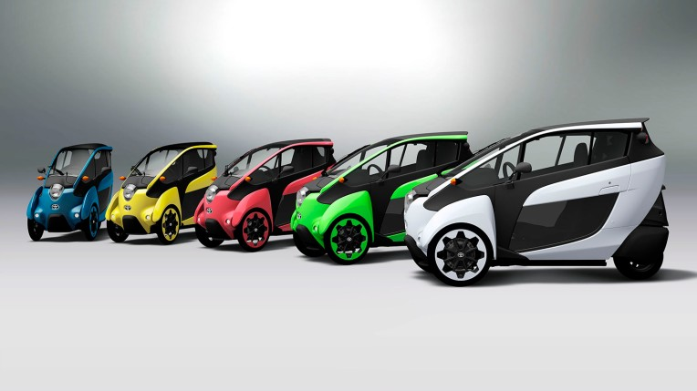 Toyota iRoad one-passenger concept cars, image courtesy Toyota.