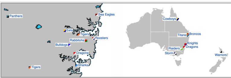 NRL Teams (via Wikipedia)