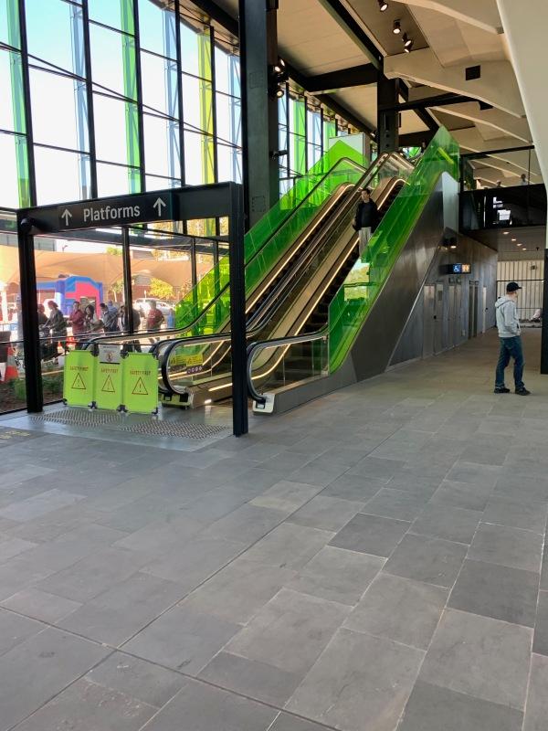 No up escalators at the spacious Rouse Hill Metro Station
