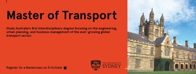 Masterclass for the Master of Transport https://www.eventbrite.com.au/e/masterclass-for-the-master-of-transport-registration-68231310687