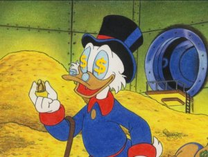 Scrooge McDuck represents the miserly side of capitalism.